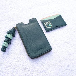Fossil Leather Phone Sleeve and Owl Card Case